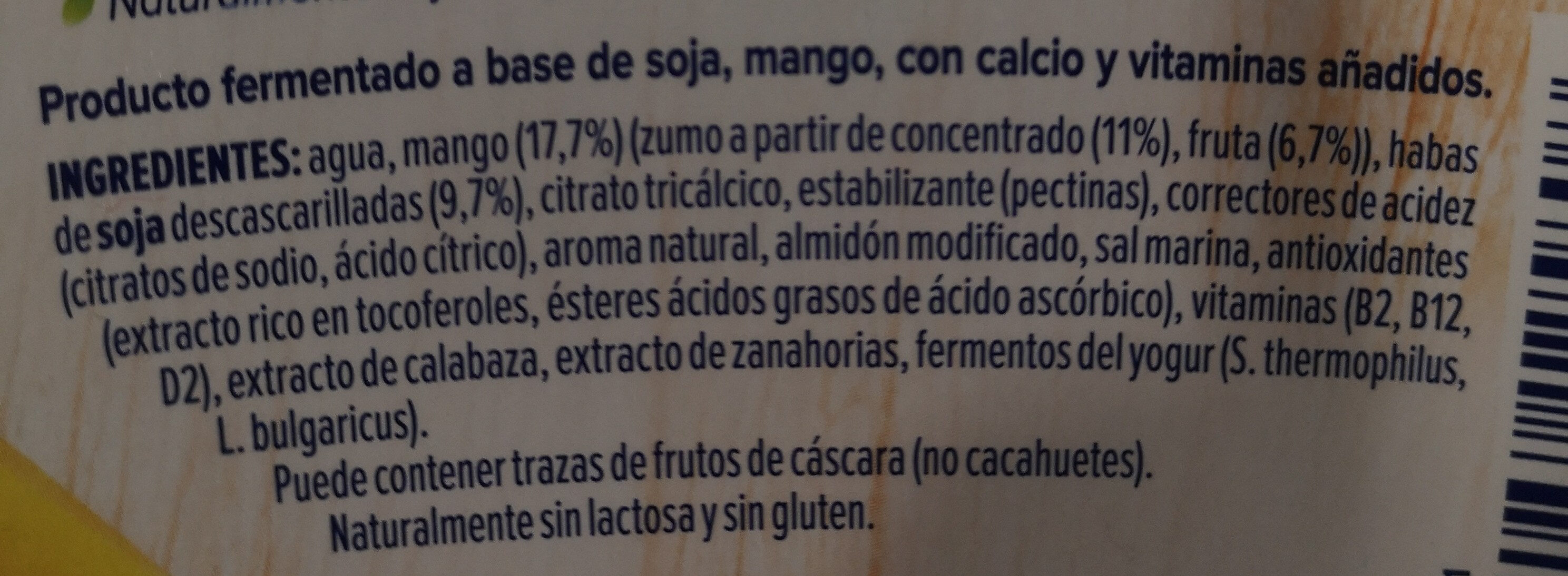 Alpro Mango - Ingredientes