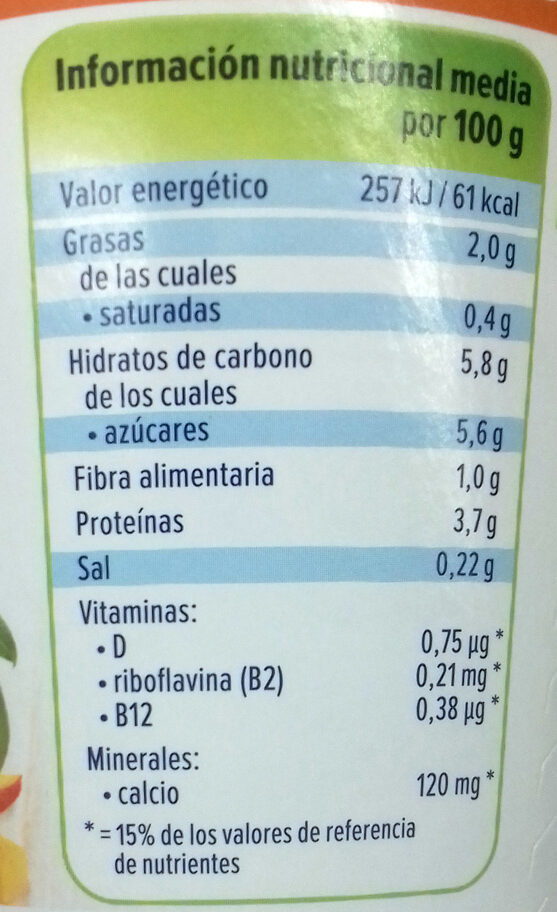 Más fruta - Mango - Nutrition facts