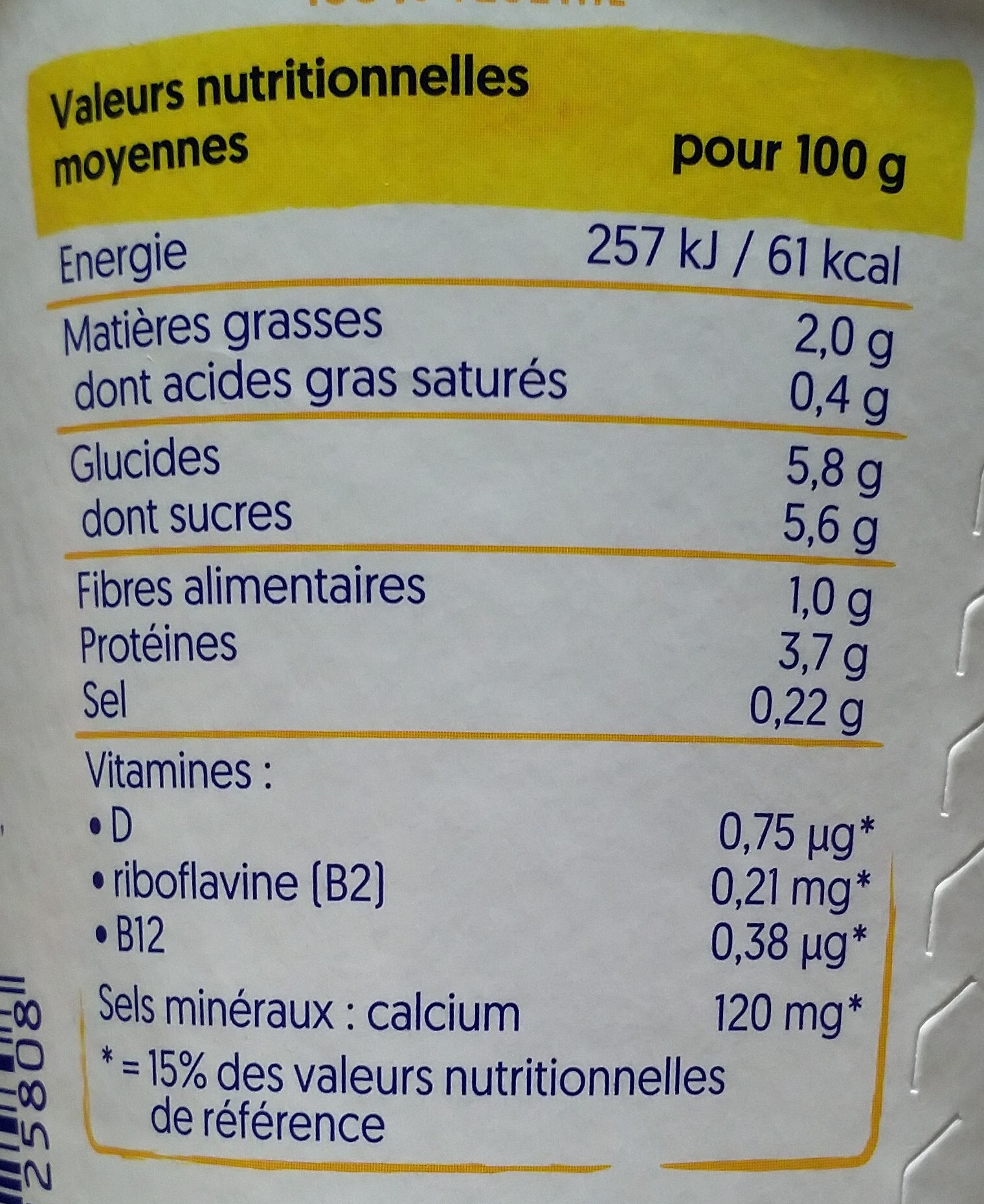 Dessert Soja mangue Sans sucres ajoutés - Voedingswaarden - fr