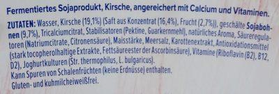 Yaourt soja cerise sans sucre ajouté - Ingredients