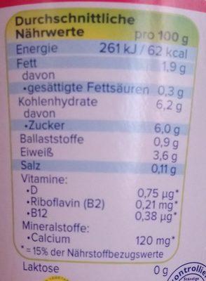 Yaourt soja cerise sans sucre ajouté - Informació nutricional