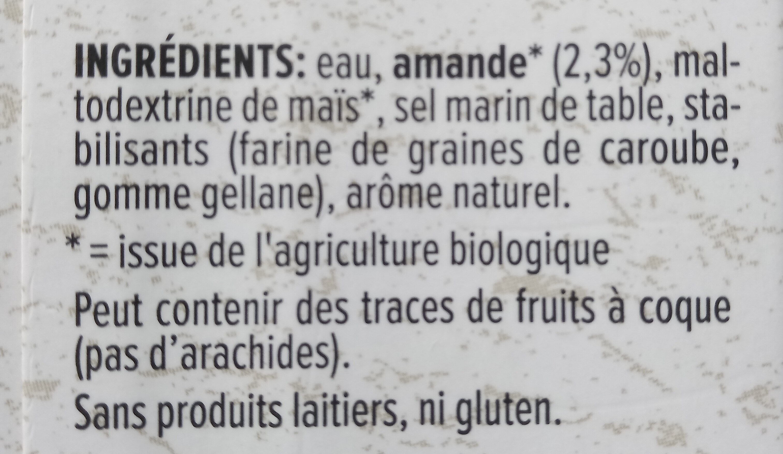 Organic Almond Unsweetened U.H.T. - Ingrédients