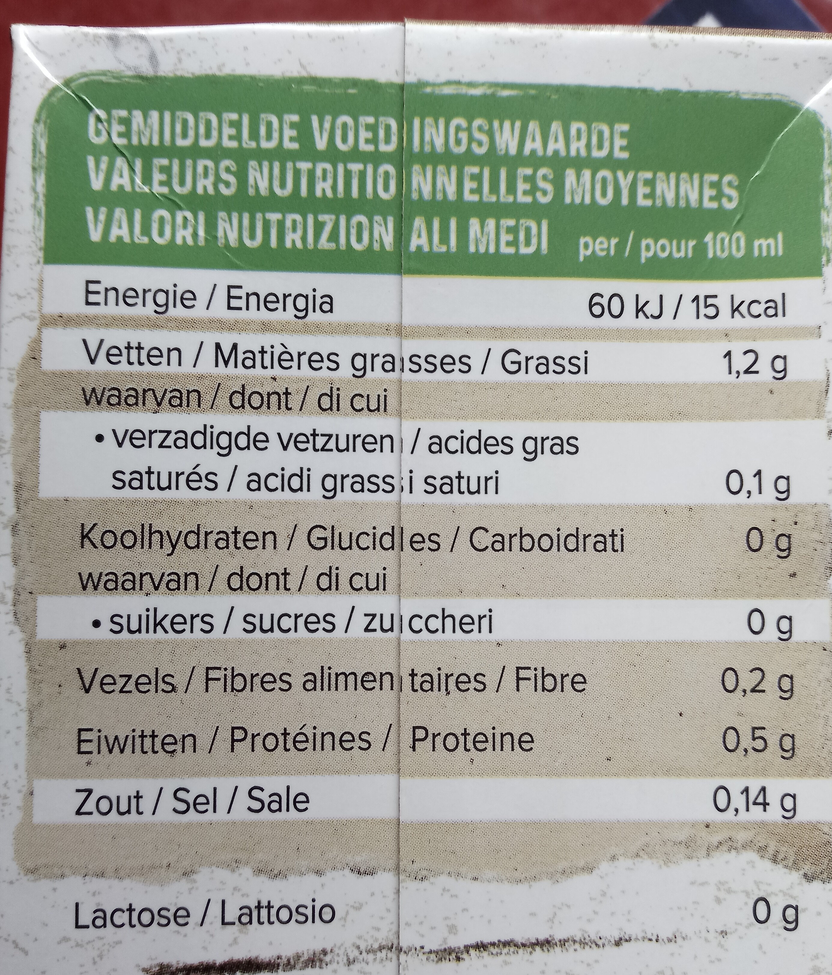 Organic Almond Unsweetened U.H.T. - Informations nutritionnelles
