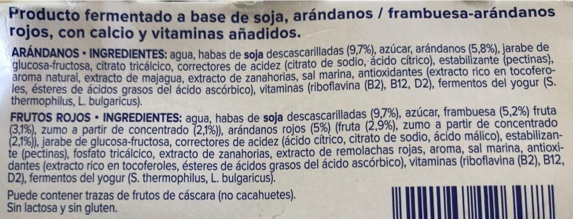 Especialidad vegetal de soja arándanos + de frutos - Ingrédients - es