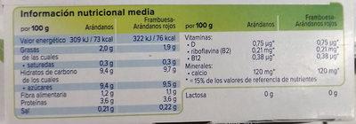 Especialidad vegetal de soja arándanos + de frutos - Informations nutritionnelles - es
