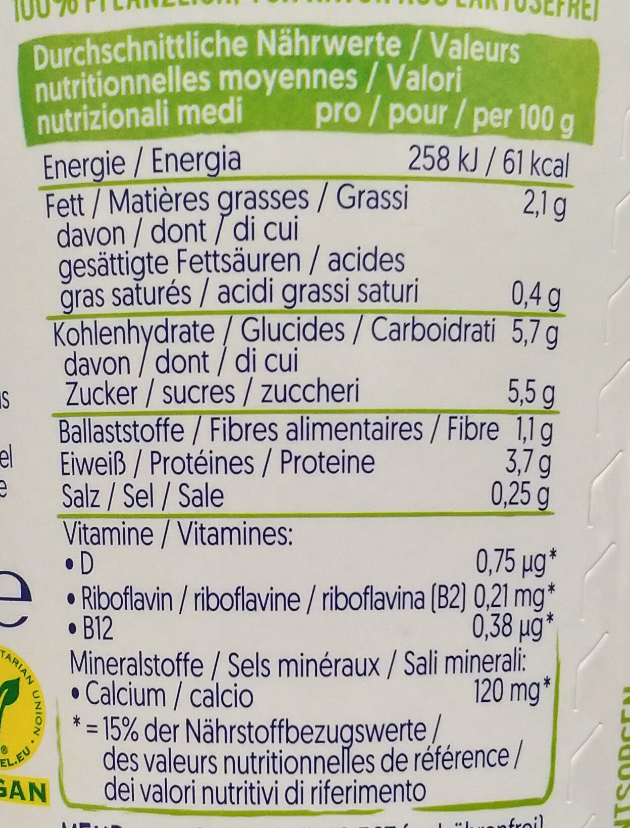 Apfel Kiwi - Nutrition facts - de