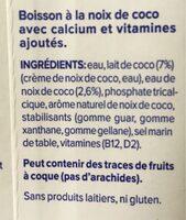 Bebida de coco sin azucares - Ingrediënten - fr