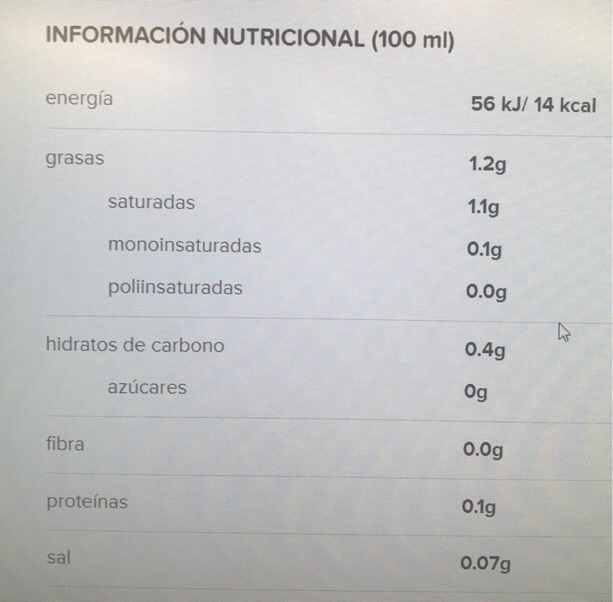 Bebida de coco sin azucares - Voedingswaarden - fr