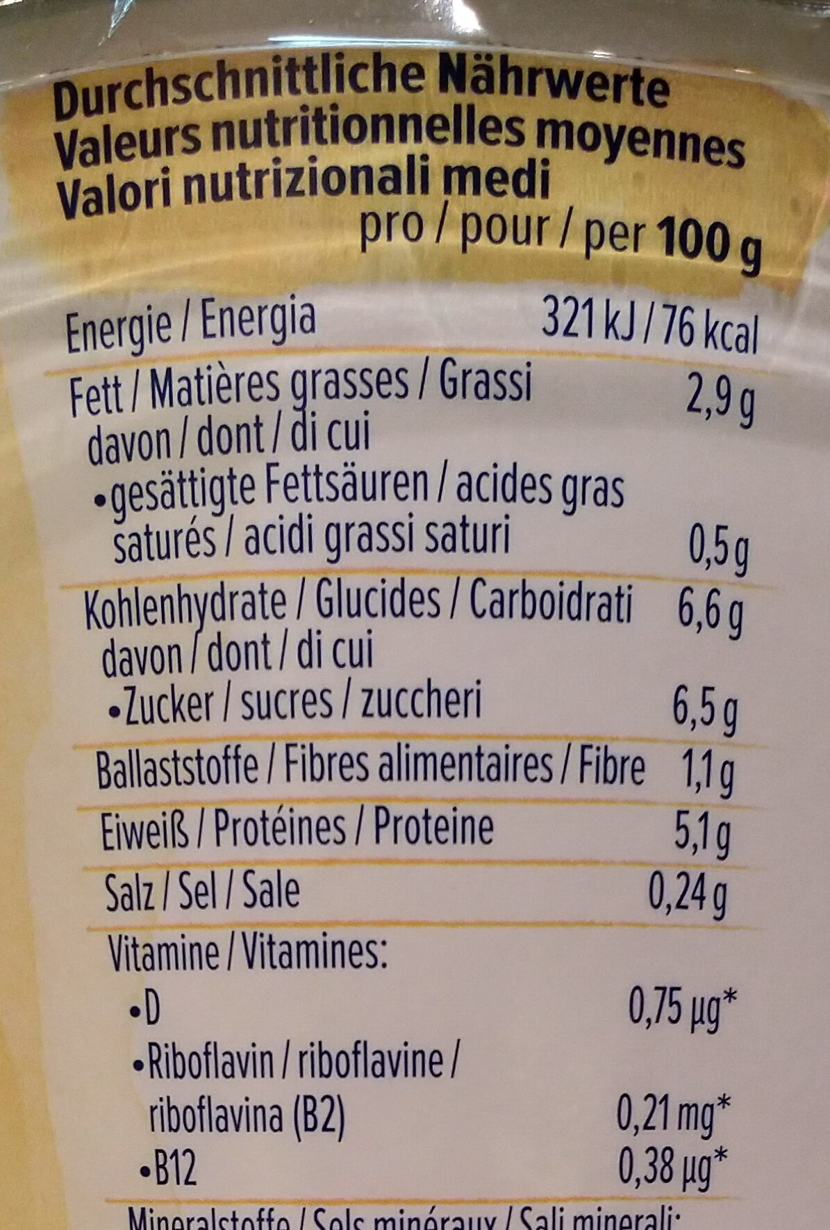 Skyr style vanille - Nutrition facts - fr