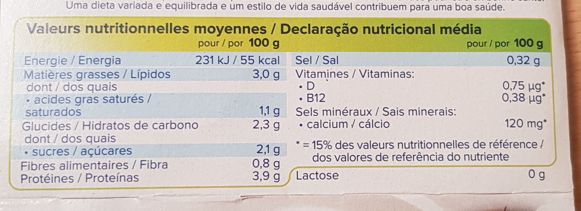 Nature à la noix de coco - Nutrition facts - fr