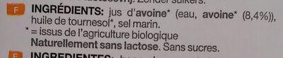 Oat no sugars - Ingrédients - fr