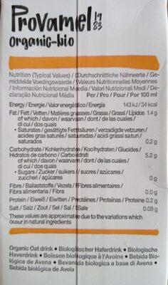 Organic-Bio Oat Unsweetened U.H.T. - Informazioni nutrizionali - fr