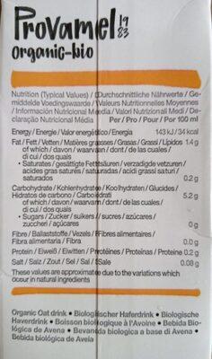 Oat no sugars - Información nutricional