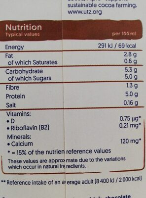 Alpro plant protein chocolat - Nutrition facts