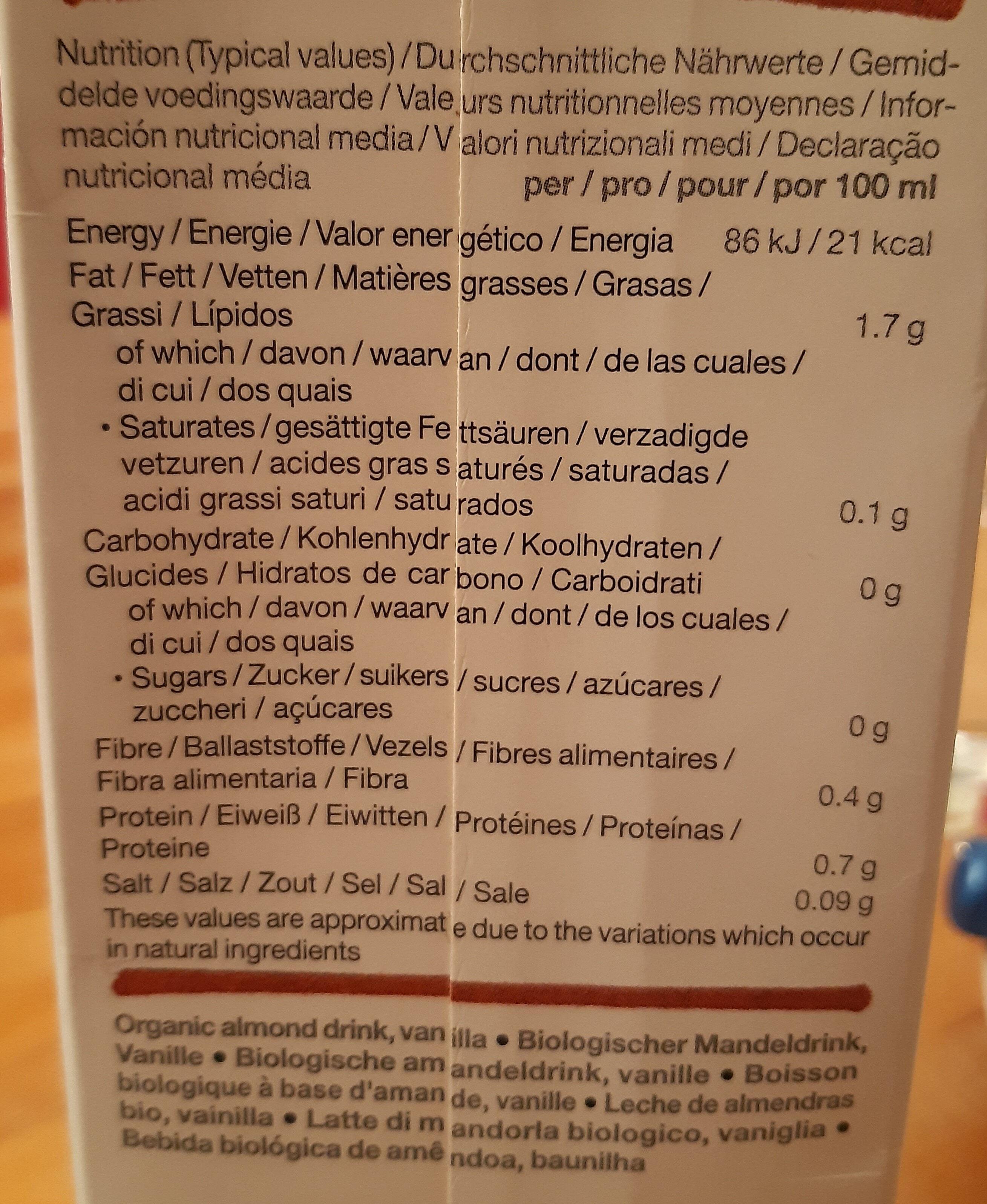 Provamel Almond - Nährwertangaben - fr