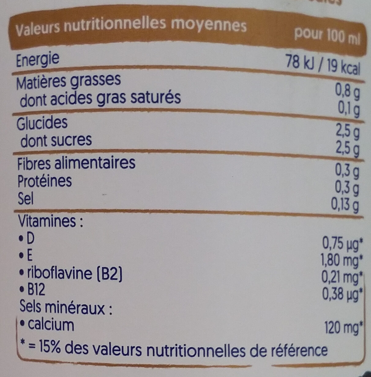 Amande onctueuse - Informations nutritionnelles - fr