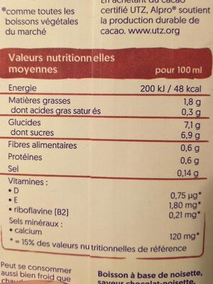 Alpro gout chocolat noisette - Nutrition facts - en