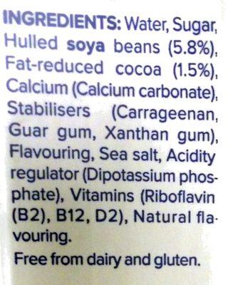 Chocolate Flavour Soya Milk - Ingredients