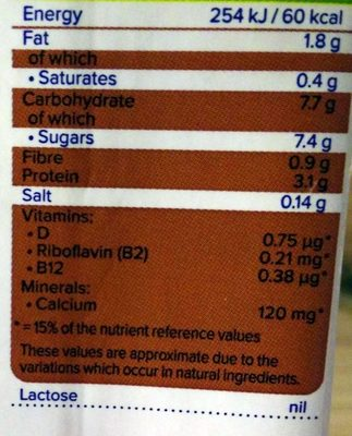 Chocolate Flavour Soya Milk - Nutrition facts
