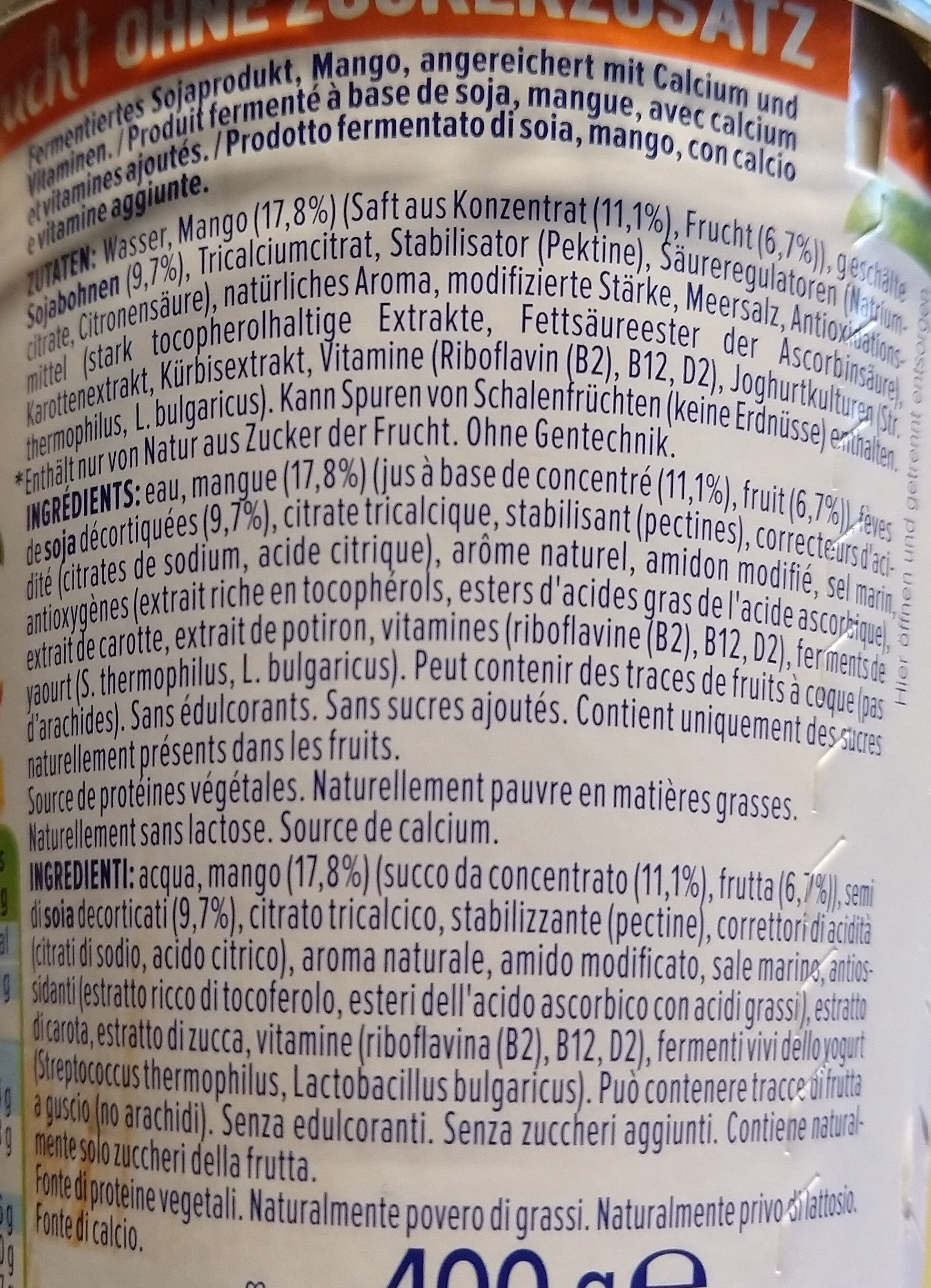 Alpro Pfirsich - Ingredients - en