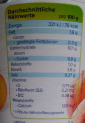 Alpro Pêche - Nutrition facts