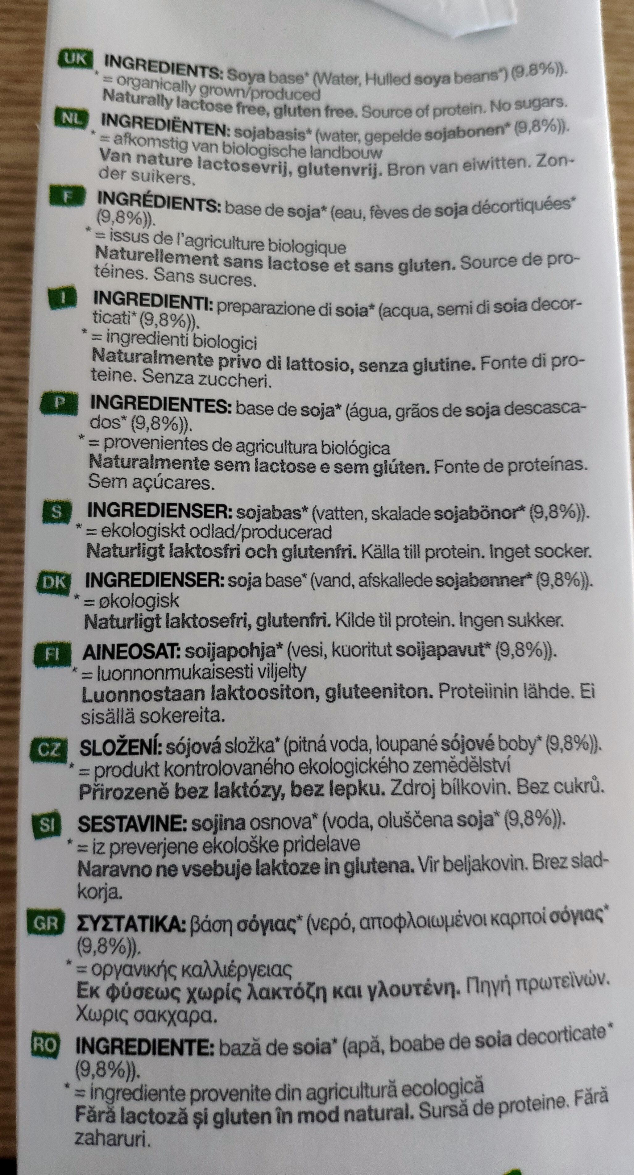 Soya Unsweetened Organic (Red) - Ingrediënten - nl