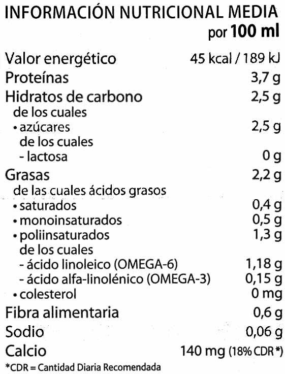 Calcimel bebida de soja enriquecida con calcio - Informations nutritionnelles