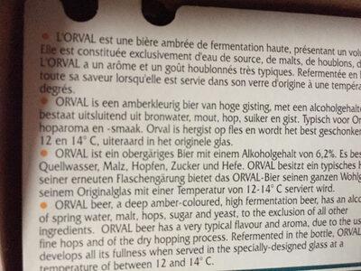 Orval - Informations nutritionnelles - fr