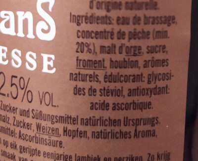 Pecheresse - Ingrediënten - en
