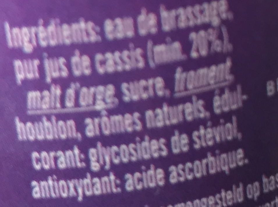 Lambic Beer Cassis - Ingredients - fr
