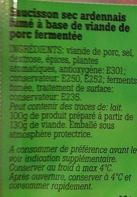 Saucisson d'Ardenne - Ingredienti - fr