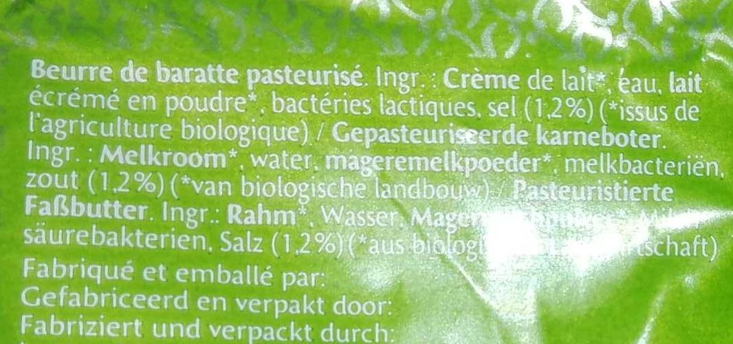 Beurre de Baratte Bio Salé - Ingredients