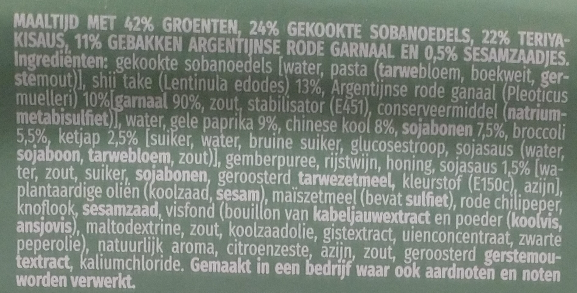 Crevettes sauvages teriyaki nouilles de soba - Ingrediënten - nl