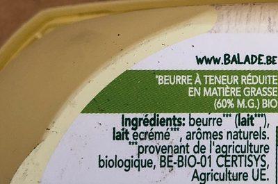Beurre Balade Bio - Ingredients - fr