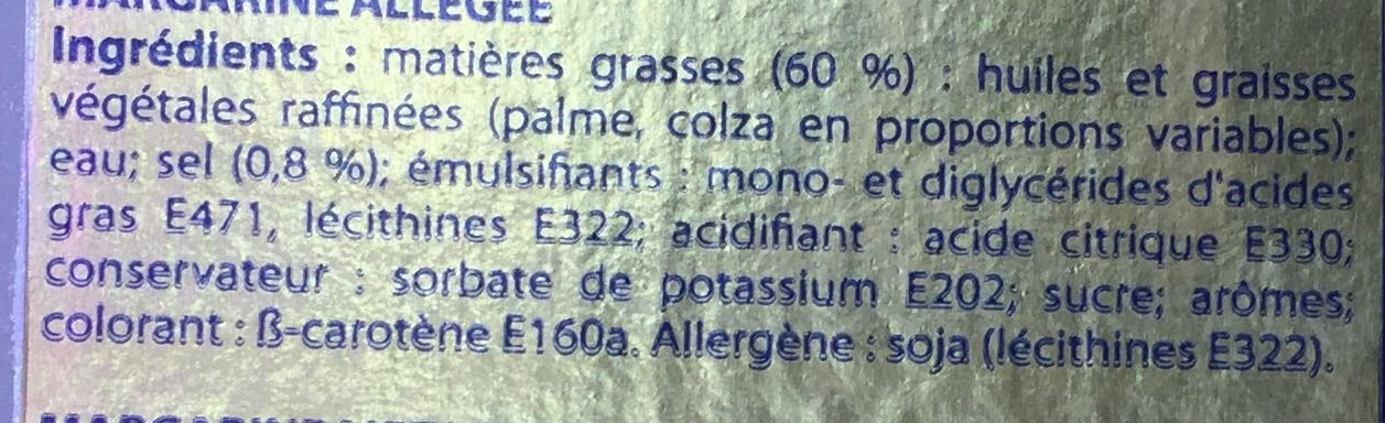 Margarine allégée 100% végétale - Ingrediënten