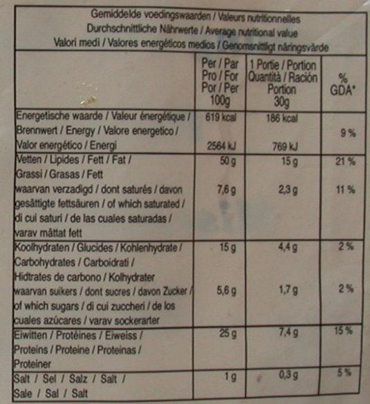 Mélange de cacahuètes et noix de cajou - Informations nutritionnelles - fr