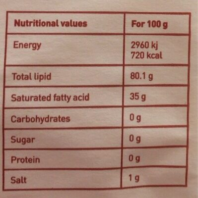 Margarine végétale - Informations nutritionnelles - fr