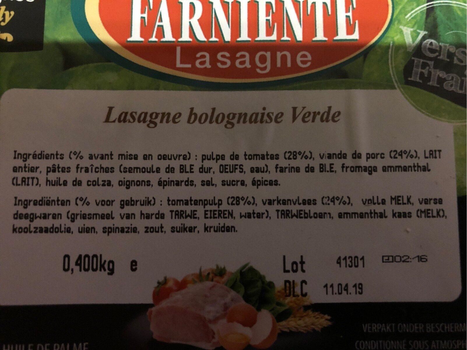 Lasagne bolognaise verde - Ingrediënten - fr