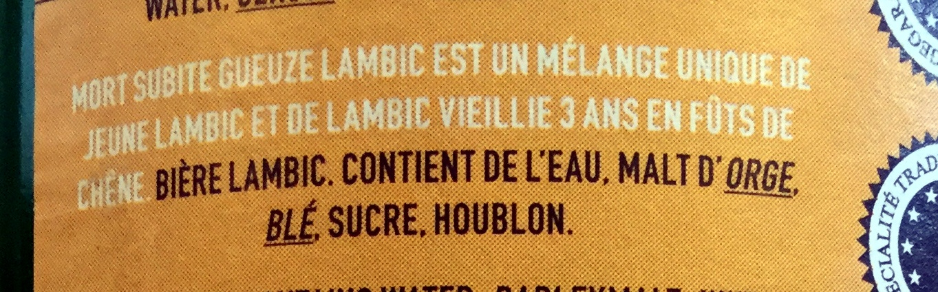 Gueuze Lambic - Ingredients - fr