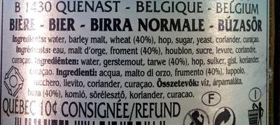 Bière blanche - Ingredienti
