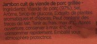 Jambon cuit Broche 4 tranches sans additifs - Ingrédients