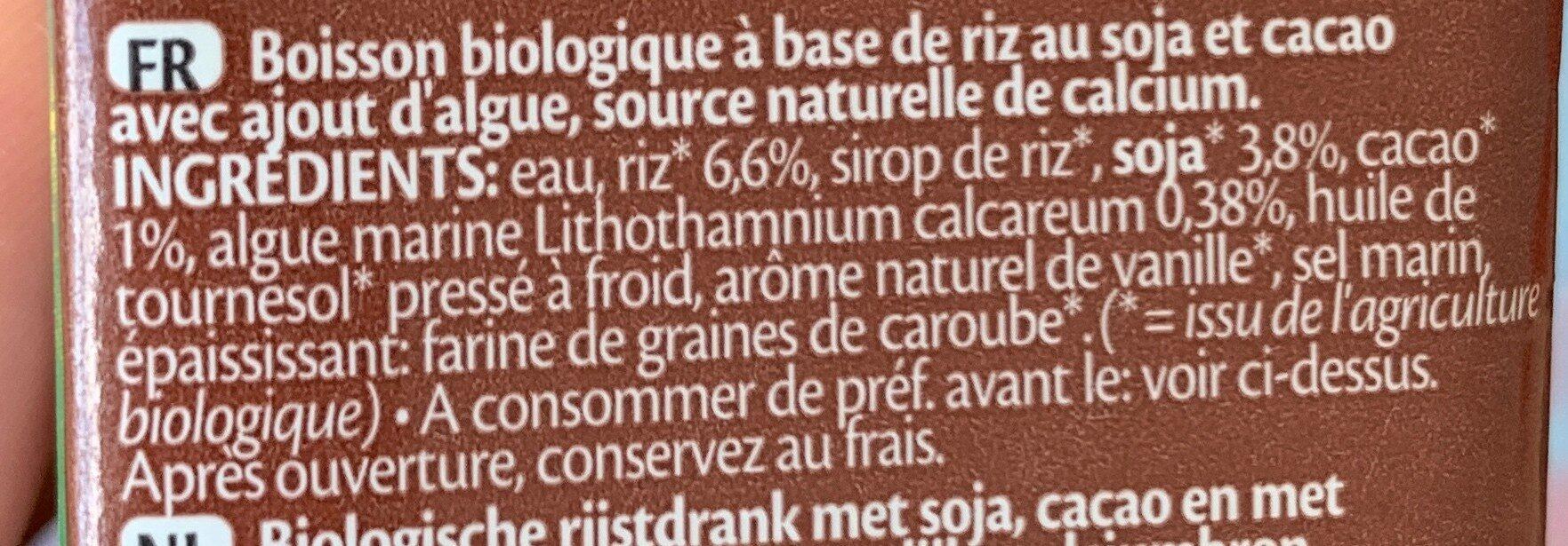 Rice Drink Choco - Ingrédients - fr