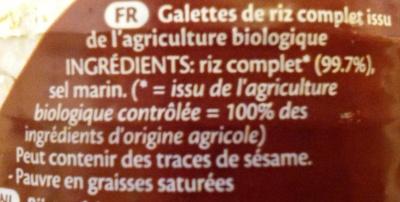 Galettes de riz complet - Ingrediënten - fr