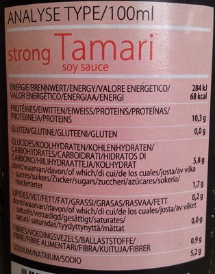 Strong Tamari soy sauce - Nutrition facts