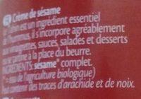 Tahin Nature Crème de sésame - Ingrédients - fr