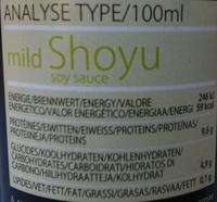 Mild shoyu - Informations nutritionnelles