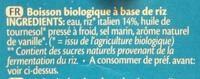 Boisson de riz - Ingredients - fr