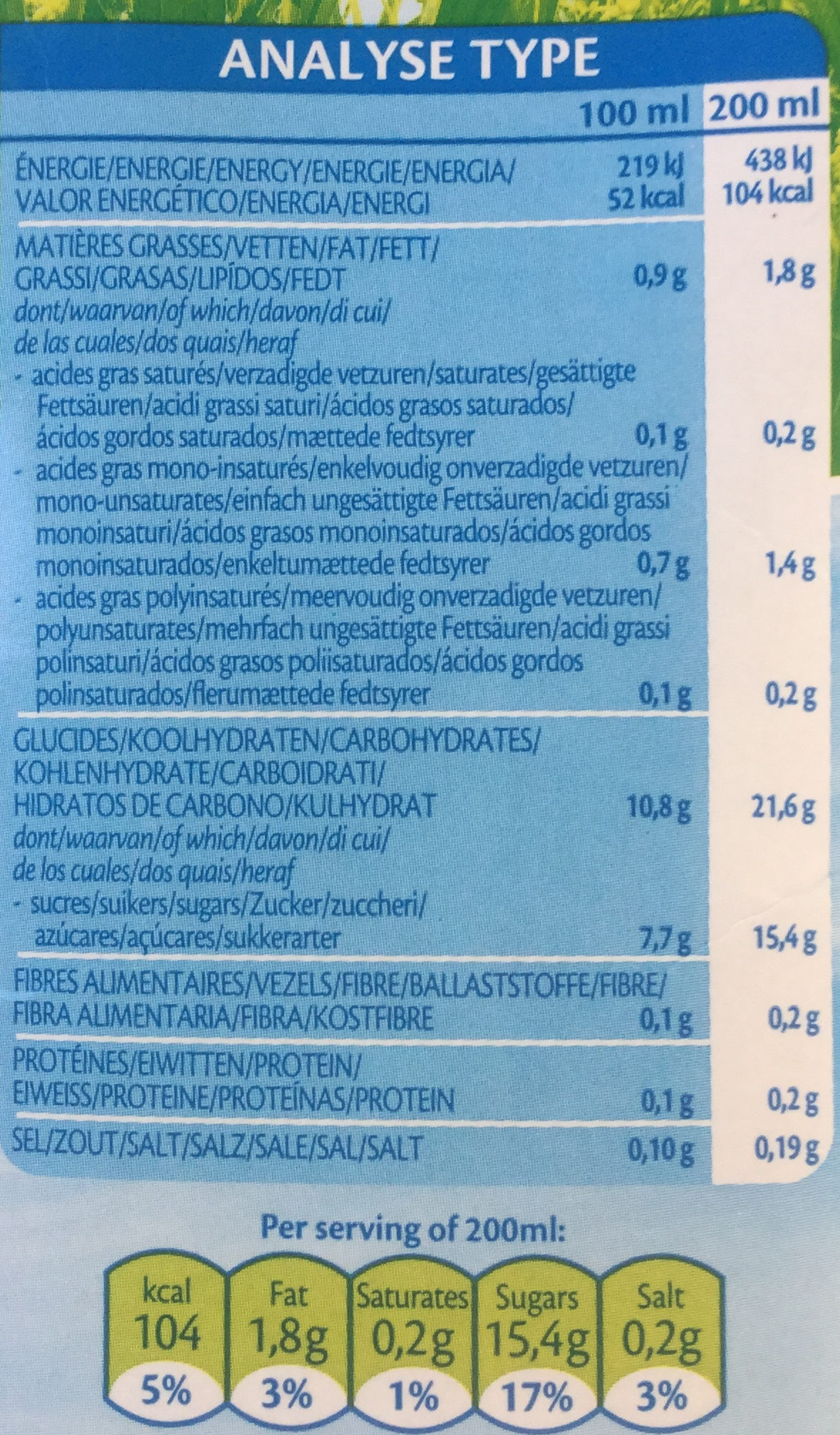 Rice drink the original - Nutrition facts - fr