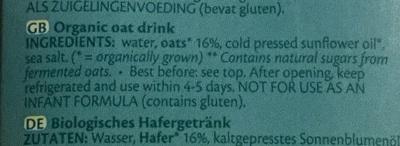 Avoine drink natural - Ingredients