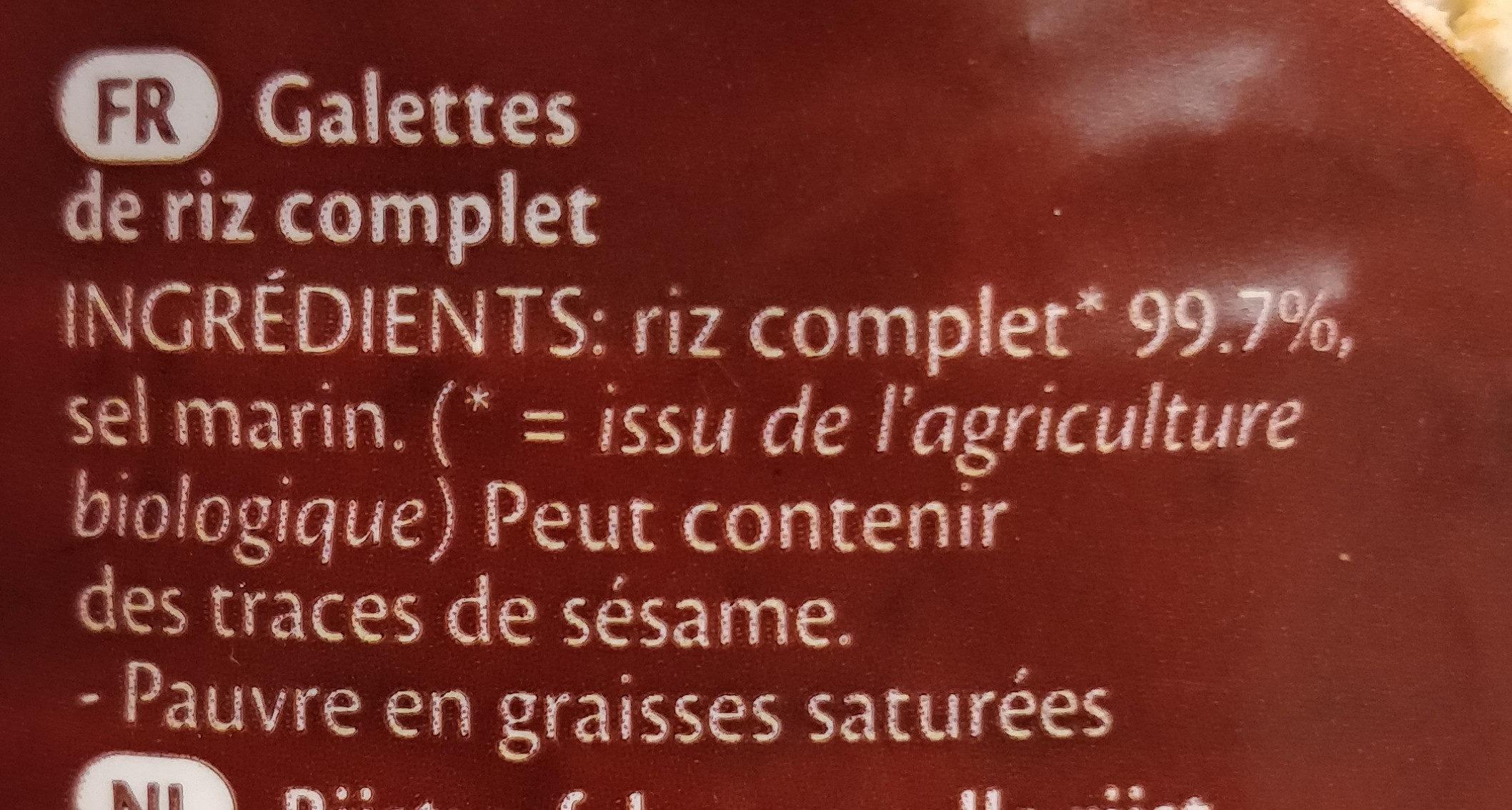 Galettes de riz complet - Ingrédients - fr
